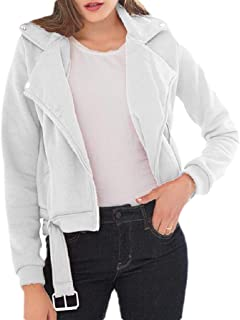 Howely Women Fleece Casual Weekend Long Sleeve Zip Up Slim Fall Winter Overcoat