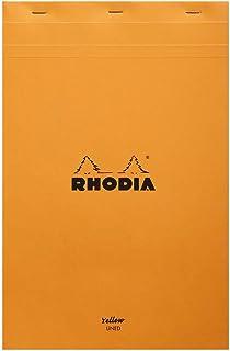 Rhodia 19660C Notitieblok (Geel Legal Pad, DIN A4+, 80 Vellen, Gelinieerd, Met Rand, 80 g) Oranje, 21 x 31,8 cm, 1 Stuk
