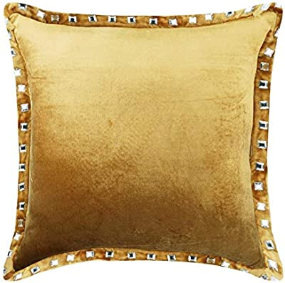 Pearl Beige Couch Cushion Covers 24 x 24 Pillow Sham Covers Velvet Crystal Embroidered Decorative Pillows Pearl Beige Crystal Palace