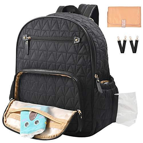 Diaper Bag Backpack, Travel Diaper Backpack with Charging Port, Diaper Bag with Stroller Hanger,Thermal Pockets,Handbag,Changing Pad, Grils.Fabric Large Best Gif(Black)