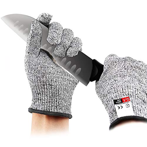 3 pairs Cut Resistant Gloves - Upgrade Cut Resistant,Cut Resistant Work Gloves, For Meat Cuttin Processing, Gardening,Wood Carving,Pruning nd More,Food Grade Level 5 Protectio (Medium-3 pair)
