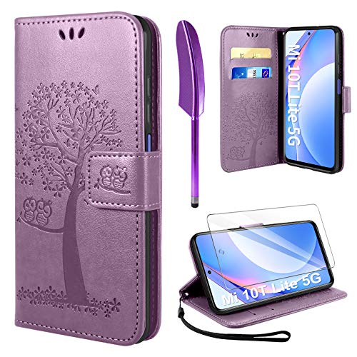 AROYI Handyhülle für Xiaomi Mi 10T Lite 5G Hülle, Mi 10T Lite 5G Klapphülle Hülle PU Leder Flip Wallet Schutzhülle für Xiaomi Mi 10T Lite 5G Tasche (Lila)