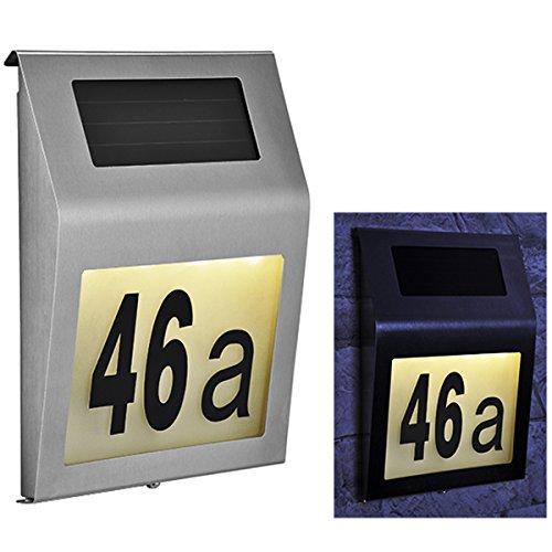 Solar-Hausnummer mit LED Beleuchtung • Solar Hausnummer beleuchtete Hausnummernleuchte Edelstahl