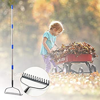 TALITARE Garden Bow Rake,Heavy Duty Garden Rake 6FT Long Stainless Steel Handle with 14 Tines Thatch Rake,Professional Lawn Rake to Collect Leaf & Poop Among Yards