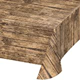 Wood Grain Plastic Tablecloths, 3 ct