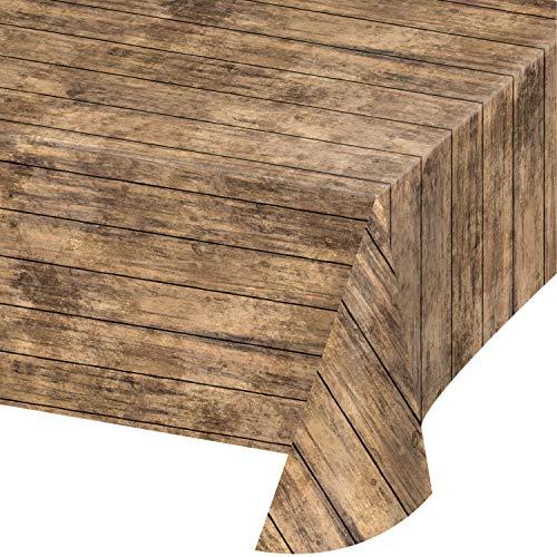 Wood Grain Plastic Tablecloths, 3 ct