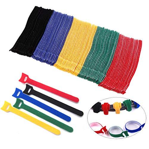 Bunt Klettverschluss Kabelbinder Wiederverwendbares Klettband Kabelklett Klettbinder Nylon für PC TV USB Netzwerkkabel 100 pcs Kit