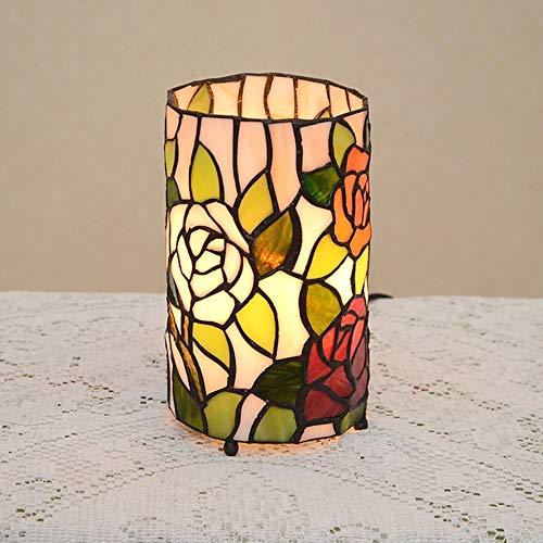 nakw88 Lámpara de Mesa Lámpara Tiffany Style Mesa Lámpara de Mesa Maternidad Noche Luz Manchado Manchado Americano Retro Rosa Lámpara de Noche W12 * H20CM