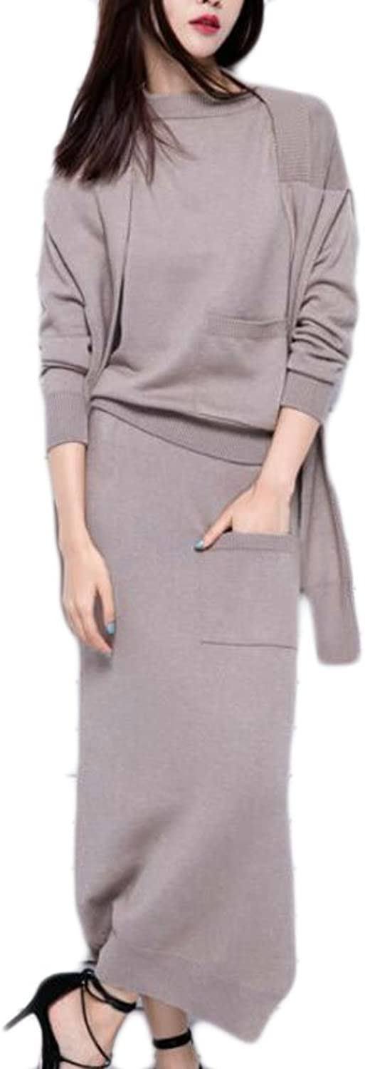 GAGA Women Casual Knit Sweater Top and Bodycon Skirt and Shawl 3 Piece Set