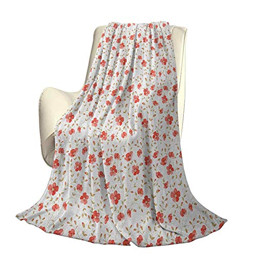 Flower Super Soft and Comfortable Microfiber Luxury Bed Blanket Flourishing Peonies in Vintage Style Flower Buds Bloom Summer Garden Artwork High-end Lightweight Anti-Static Blanket W80 x L60 Inch Da