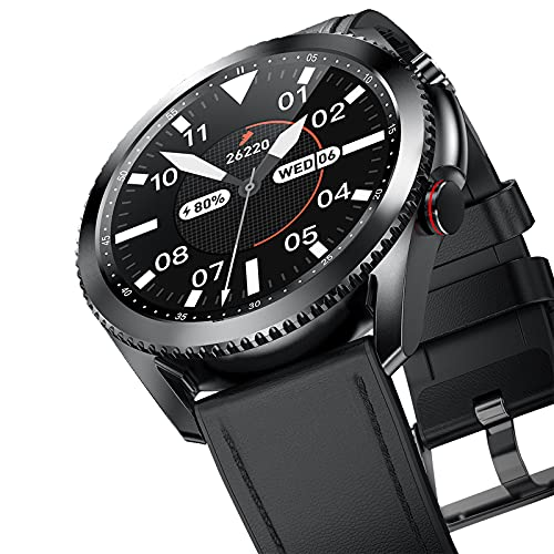 FMSBSC SmartWatch, Reloj Inteligente Pulsera Actividad con Monitor de Frecuencia Cardíaca, Llamada Bluetooth Monitor de presión Arterial oxígeno en Sangre, Compatible con iOS Android,Black Leather