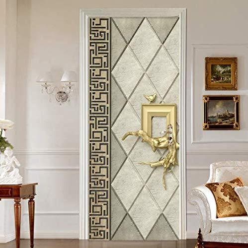 Pegatinas para puertas Pegatinas de pared Papel tapiz moderno autoadhesivo 3D, Sala de estar Dormitorio Decoración para el hogar 77 * 200cm