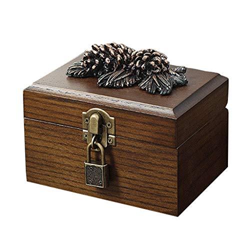 Caja de Almacenamiento de joyería de Madera sólida Vintage Tallada a Mano Caja de joyería de Frutas de Pino con Cerradura
