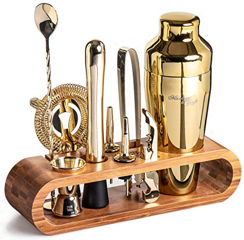 Mixology Bartender Kit: 10-Piece Bar Tool Set with Stylish Bamboo Stand | Perfect Home Bartending Kit and Martini Cocktail Shaker Set For an Awesome Drink Mixing Experience (Gold)
