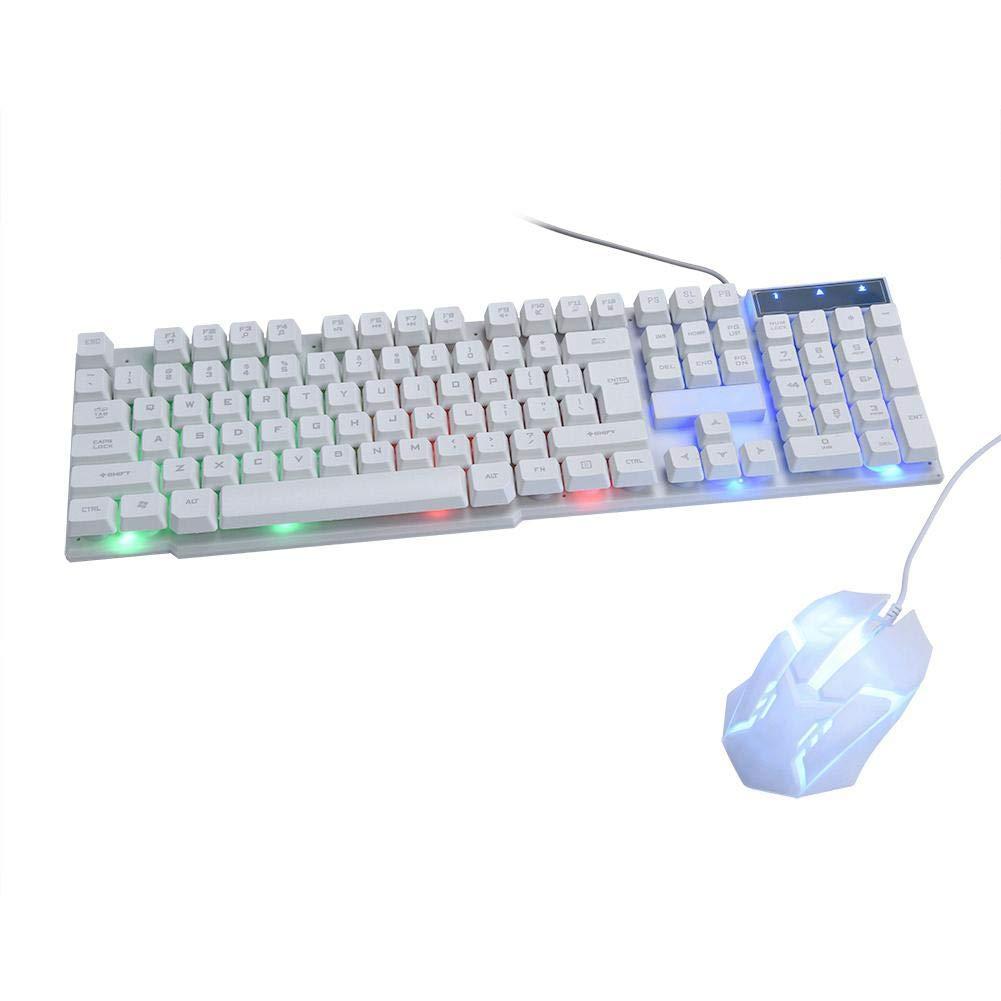 ASHATA Reemplazo Packs de Teclado y Ratón Mecánica,Gaming Mouse y Keyboard Cable Antideslizante Universal,Luces Respiratorias LED/104 Teclas,Compatible con Win XP/Vista,Window7/8/10,Mac OS.(Blanco): Amazon.es: Electrónica