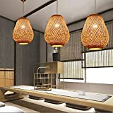 Lampe à suspension moderne, lampe à suspension en bambou pour table à manger, support de lampe à vis E27, lampe à suspension à cage en bois pour chambre à coucher et salon de salle à manger,D