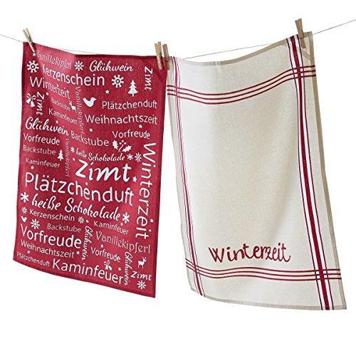 Geschirrtücher Winterzeit 2er Set - 100% Baumwolle - Weihnachten - Beige Rot - ca. B50 x L70 cm