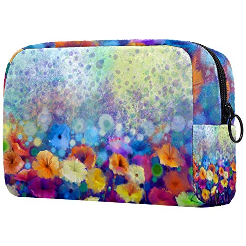Travel Toiletry Bag,Ultra-Light Cosmetics Bag Makeup Organizer 7.3x3x5.1in Floral Watercolor Painting Brush Pouch Toiletry Wash Bag Hand-held PVC Cosmetic Pouch