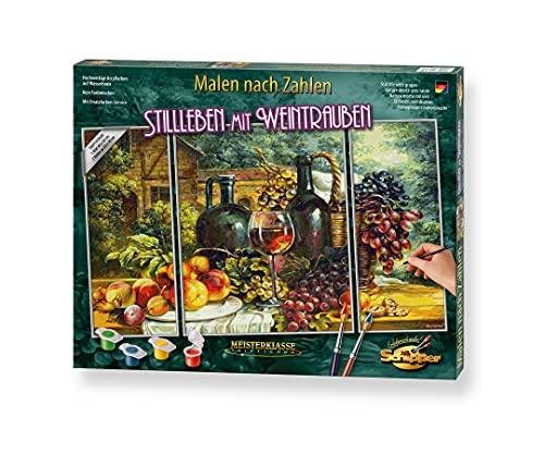 Schipper 609260847 Zahlen, Stillleben mit Weintrauben-Bilder malen für Erwachsene, inklusive Pinsel und Acrylfarben, Triptychon, 50 x 80 cm