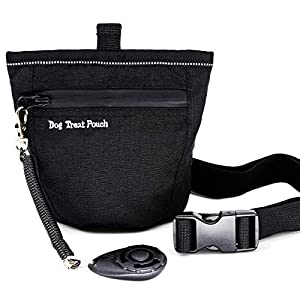 FARAER Dog Treats Training Pouch, Magnetic Closure Dog Treat Bag with Training Clicker, Doggie Puppy Snack Reward Bags Bait Pouches Dog Treat Carrier Holder with Waist Belt