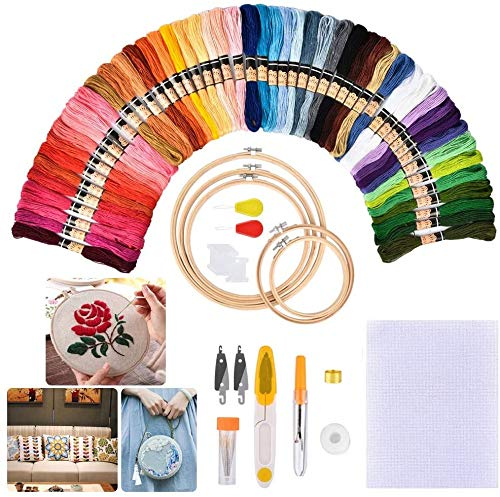 Embroidery Starter Kits with Pattern and Instructions,50 Color Threads,5 Pieces Bamboo Embroidery Hoops,Cross Stitch Tool Kit for Adults and Kids Beginners