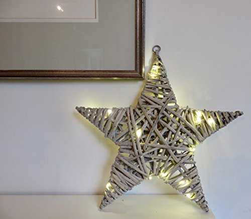 Link Products Vintage Look Willow Star. 20 Free LED Battery Lights 3 AA Batteries required not included. Point to Point: 35cm.