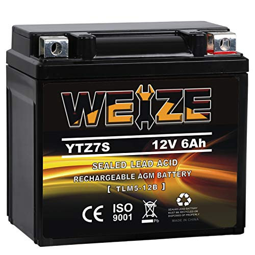 Weize YTZ7S-BS Sealed Maintenance Free AGM Battery Replacement YTZ7S Compatible With Honda TRX450ER TRX450R ATV Motorcycle Battieres