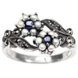 Gemini Cultured Seed Pearl Sterling Silver Ring, Sapphire (Size 6) - Dahlia Vintage Collection