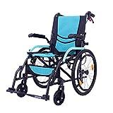 WDDMFR Manueller Klapprollstuhl - Reisetransportstuhl mit Fußstützen - Geeignet für ältere Menschen mit Behinderungen - 46 cm Sitzfläche -