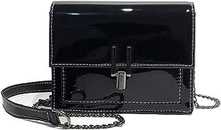 Damen Elegante Stilvolle Lackleder Clutch Bag Handtasche Kette Umhängetasche Abend Party Wochenend-Arbeit Kleine Quadratische Tasche