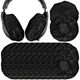 Geekria 100 Pairs Large Stretchable Headphone Earpad Covers/Disposable Sanitary Earcup Fit ÂKG K701, Q701, Sennheíser HD900, HD800, Razer Kraken X, 7.1 Chroma V2 Over-Ear Headphones (Black)