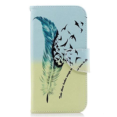 Uposao Kompatibel mit Handyhülle Huawei P20 Leder Tasche Schutzhülle Brieftasche Handytasche Retro Muster Ledertasche Lederhülle Klapphülle Case Flip Cover Book hülle,Feder Vogel