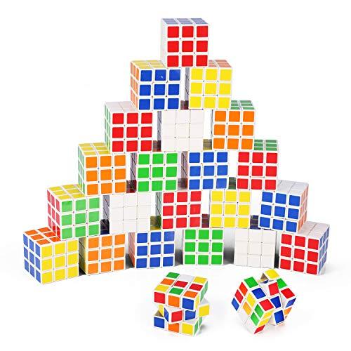 미니 큐브 INTEGEAR 퍼즐자 장난감(24 팩) 1.37 인치 파티 호의 퍼즐 게임 설정 학용품을 소녀를 위한 소년입니다. 3.5CM 매직 브레인 티저 큐브 GOODY BAG 필러 생일 호의 선물 공짜