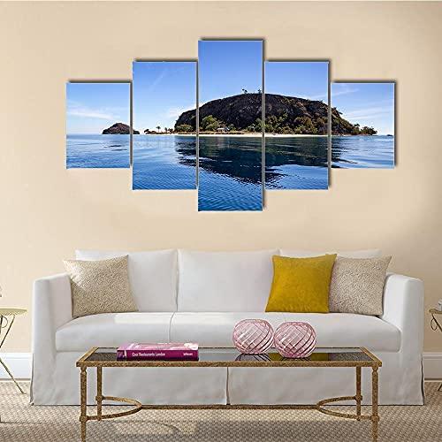 GHYTR Imagen sobre Lienzo Cuadros Abstractos Modernos XXL Poster 5 Piezas Isla Tropical Y Pequeña Playa Arte De Pared Imágenes Modulares Sala De Estar Decoración para El Hogar 150X80Cm