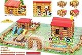 Toys of Wood Oxford Granja Juguete con Animales- Granja de Juguete de construcciones de Madera con Animales y Tractor - Casa de Campo de Madera, Juegos de construcción para niños de 3 años