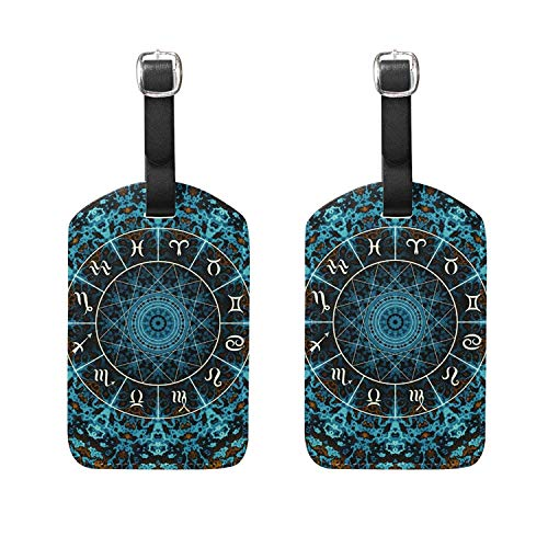 Set of 2 Luggage Tags Mandala Constellation Suitcase Labels Travel Accessories
