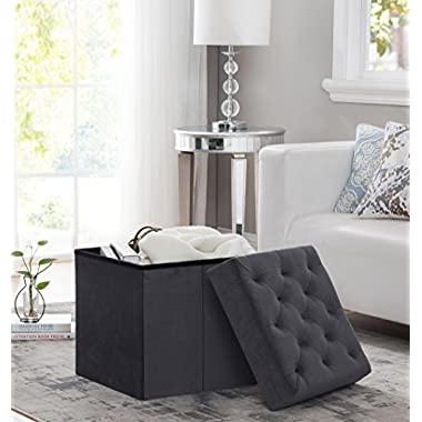 Decor Venue Foldable Velvet Tufted Storage Ottoman Square Cube Foot Rest Stool/Seat - 17  x 17  x 18  - Gray