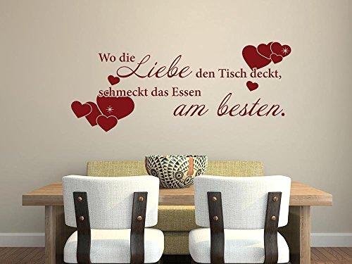 GRAZDesign Wandtattoos Küche Esszimmer Herzen, Aufkleber für Küche Geschenk Mama, Wandtattoo Küche Wo die Liebe den Tisch deckt / 73x30cm / 070 schwarz