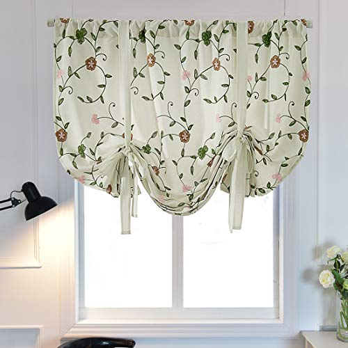 """vctops Floral Embroidered Farmhouse Tie Up Shade Curtain Thermal Insulated Adjustable Balloon Curtain for Small Window Rod Pocket 1 Panel (31""""x47"""",Floral D)"""
