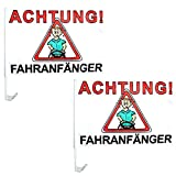 Spassprofi 2 Autoflaggen Achtung! Fahranfänger Autofahne Autoflagge Fahne Autoschmuck