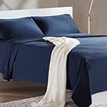 SLEEP ZONE 4-Piece Soft Cooling Bed Sheet Set Queen Size - Wrinkle Free & Fade Resistant Moisture Wicking Breathable Microfiber Sheet (Navy Blue, Queen)