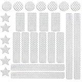 BOYATONG Set di 27 riflettori adesivi impermeabili per bambini, nastro riflettente, autoadesivo, per bicicletta, casco da moto, deambulatore e passeggini, adesivi catarifrangenti (argento bianco)