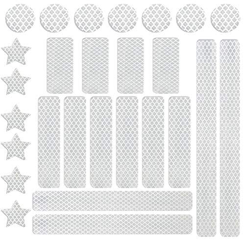 BOYATONG 27 Stück Reflektoren Kleben Wasserfest Set für Kinder,Reflektorband Selbstklebend Auto für Fahrrad,Motorradhelm,Helm Rollator,und Kinderwagen,Reflektoren Aufkleber Sticker(Silber-Weiß)