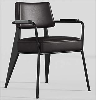 KOKOF Silla de metal con patas de salón, sillas de cocina, sillón, sillas de salón, sillas de ocio, silla de bañera, con respaldo y reposabrazos, estilo simple negro