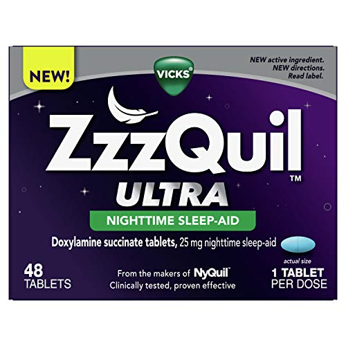 ZzzQuil Vicks Ultra Nighttime, Sleep Aid Tablets, Doxylamine Succinate, Adult Sleeplessness Tablets, 48 Count