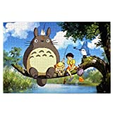 Cartoon Anime Poster Figure Ghibli Miyazaki Hayao Spirited Away Totoro Ponyo Jigsaw Puzzle 1000 Piece for Adults & Kids, Puzzles Intellectual Decompressing Fun Family Game Large Puzzle Game Toys Gift