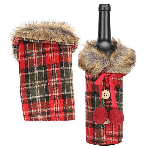 Cubierta de la botella de vino del paño de la tela escocesa, manual de la cubierta de la botella de vino de la Navidad del vino rojo protector para las decoraciones del festival