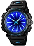 PASOY Mens Cool Blue 3D Backlight Watch Black Rubber Strap Swim Waterproof Sport Quartz Analog Watches (Blue)