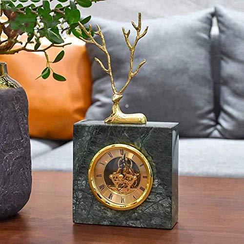DSENIW QIDOFAN Crafts Europäischer Minimalist All-Kupfer Marmoruhr Uhr Büroaccessoires Wohnzimmer TV Schrank Hauptdekoration (15 * 6 * 31cm) stilvoll und schön
