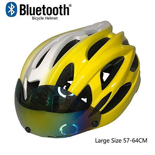 GuoYq Casco Leggero da Bicicletta, Casco da Bici Professionale aerodinamico e Urbano Integrato con Intelligenti Occhiali magnetici Bluetooth integrati, Standard CE CE